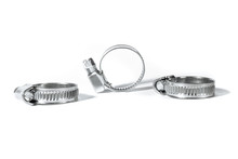 Construction Steel Clamp For Tightening Metal Or Plastic Hose And Pipes Isolated On White Background Close Up