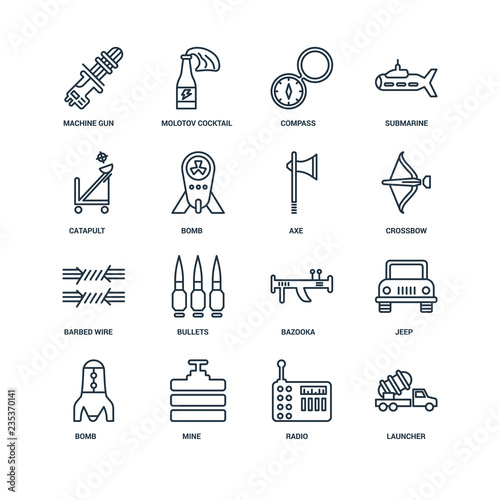 Stampa su Tela Set Of 16 Universal Editable Icons. Includes Elements Such As La