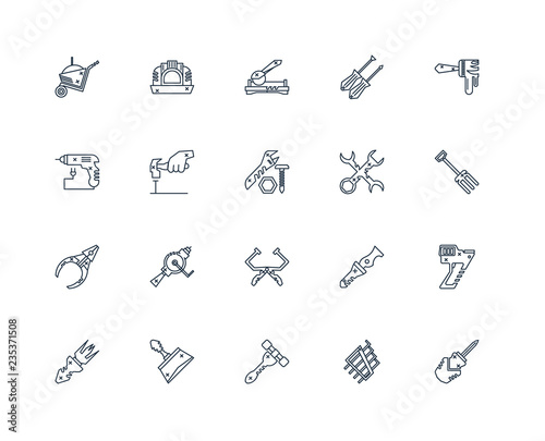 Set Of 20 outline icons such as Screwdriver, Allen keys, Hammer, Wallpaper Mural