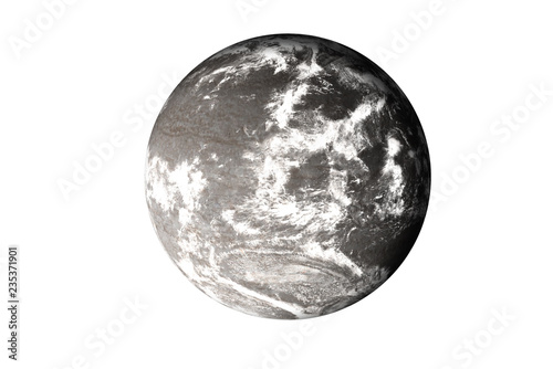 Fototapeta  Rock dead planet with atmosphere in the space isolated on white background