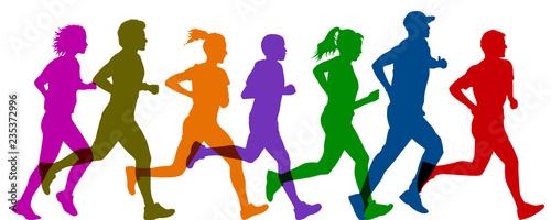 Group sportsman run - vector Wallpaper Mural