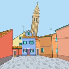 Vector. Multi-colored Houses And A Bell Tower.