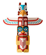 Colored Indian Totem. Wooden O...