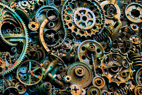 Photo  Steampunk texture, backgroung with mechanical parts, gear wheels