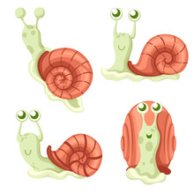 Cute Snail Collection. Big Green Snail. Forest Animal. Cartoon Character Design. Flat Vector Illustration Isolated On White Background