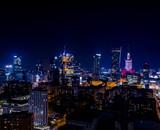 Fototapeta Miasto - Nocna panorama Warszawy