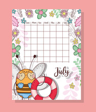 July Calendar With Cute Bee Animal