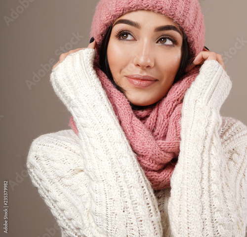 Fotografie, Obraz  beauty face care portrait of attractive young caucasian woman in warm clothing