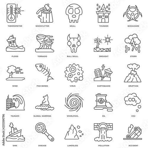 Fototapeta Simple Set of 25 Vector Line Icon. Contains such Icons as Accide obraz na płótnie