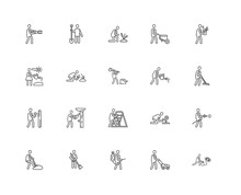 Simple Set Of 20 Vector Line Icon. Contains Such Icons As Worker