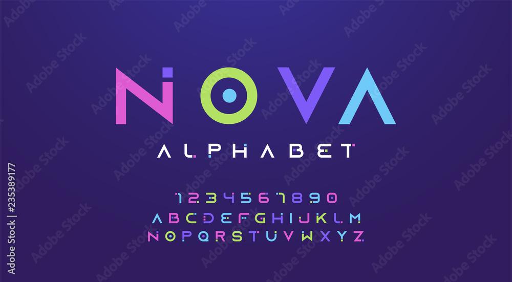 Zestaw czcionek kolorowe litery i cyfry. Kolorowy alfabet, typografia nowoczesny projekt kolor. ilustracji wektorowych