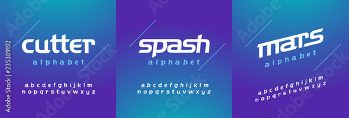 Fotografie, Obraz  Modern abstract font alphabet lowercase italic set