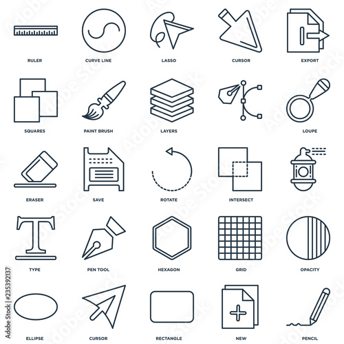 Fotografie, Obraz Set Of 25 Universal Editable Icons. Includes Elements Such As Pe