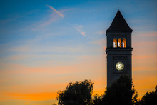Spokane Downtown Clock Tower In Park At Sunset