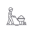 Construction works line icon concept. Construction works vector linear illustration, sign, symbol