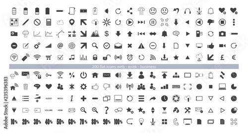 Fototapeta 200 everyday vector web icons, 200 icone del web uso giornaliero  obraz na płótnie
