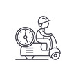 Fast courier line icon concept. Fast courier vector linear illustration, sign, symbol