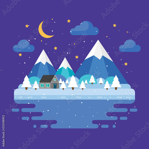 Poster Violet Winter trendy landscape in flat design, trees, moon and stars, mountains. Night vector illustration.