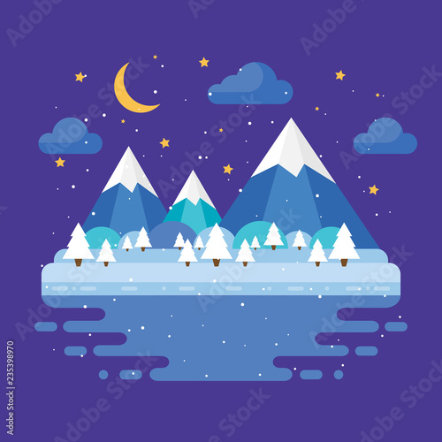 Keuken foto achterwand Violet Winter trendy landscape in flat design, trees, moon and stars, mountains. Night vector illustration.