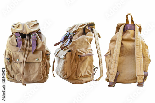 Obraz Yellow bag for backpack on a white background. - fototapety do salonu