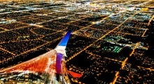 Las Vegas City Lights From Airplane At Night