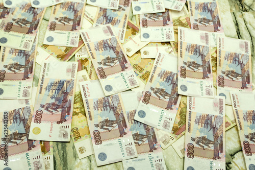 Fotografia  Abstract background of money pile 500 russian rouble bills