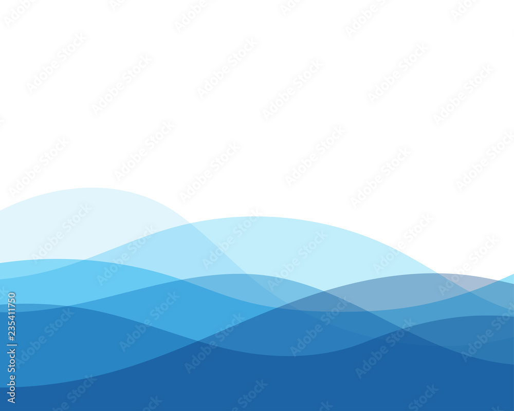 Fototapety, obrazy: Blue wave concept abstract vector background