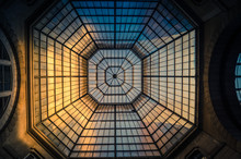Glass And Iron Patterned Ceiling Roof Of Huge Dome View From Below