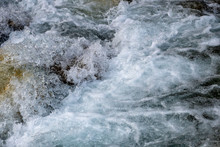 Powerful Flow Of Water Over The Stones, Mountain River Close Up.