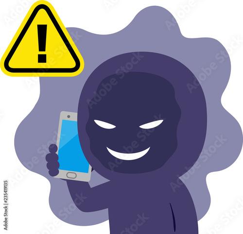 Stampa su Tela スマートフォンでしゃべる不審人物
