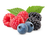 wild berries mix, raspberry, blueberries, blackberries isolated on white background, clipping path, full depth of field