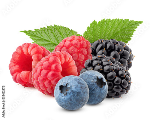 wild berries mix, raspberry, blueberries, blackberries isolated on white background, clipping path, full depth of field - 235422372