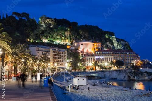 Fotobehang Nice City of Nice by Night in France