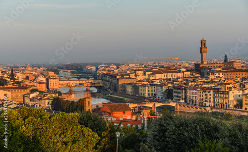 Fototapety, obrazy: Aerial view of Florence (Italy) at sunrise