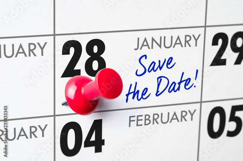 Fotografia  Wall calendar with a red pin - January 28