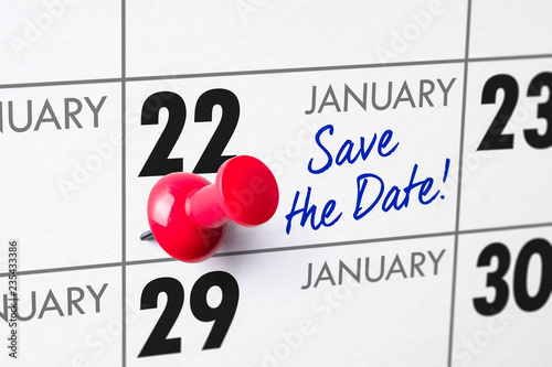 Fotografia  Wall calendar with a red pin - January 22