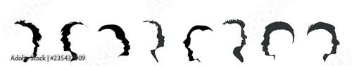 Vector silhouette of set of face different people.