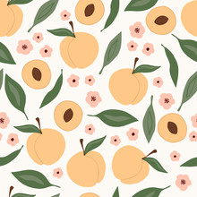 Seamless Pattern With Peach, Flower And Leaves.