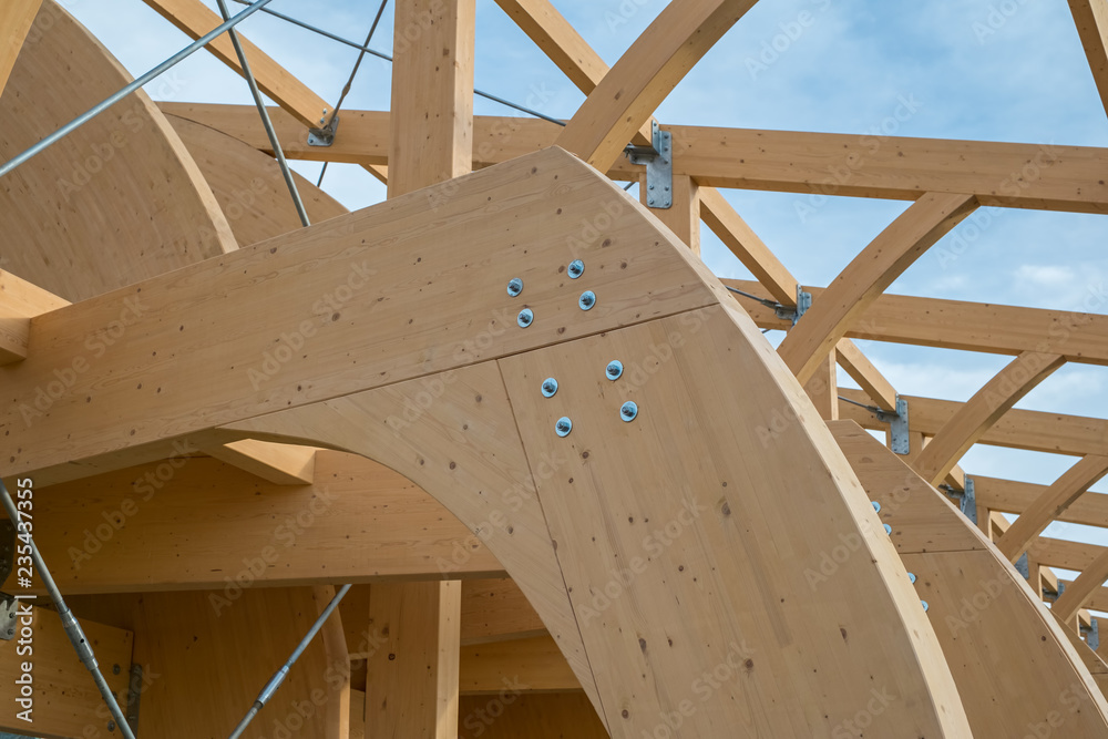 Fototapety, obrazy: Detail of a modern wooden architecture in glued laminated timber