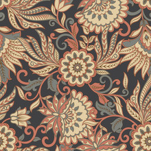 Floral Seamless Pattern. Ethnic Vector Background