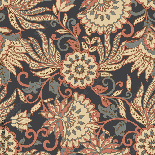 Poster Artificiel Floral seamless pattern. ethnic vector background