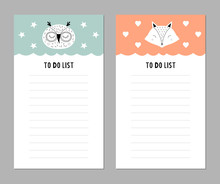 Weekly Planner With Cute Animals. To Do List For Kids.