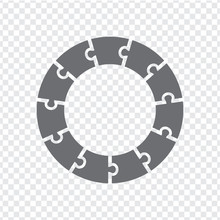 Simple Icon Circle Puzzle In Gray. Simple Icon Circle Puzzle Of The Eleven Elements On Transparent Background. Flat Design. Vector Illustration EPS10.