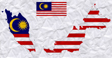 Old Crumpled Paper With Watercolor Painting Of Malaysia Flag And Map