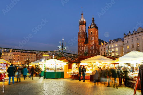 KRAKOW, POLAND - DECEMBER 01, 2016: Annual christmas fair at the Main Market Square