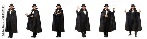 Man magician isolated on white Canvas Print