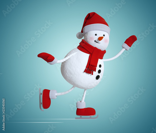 funny snowman figure skating, 3d character, winter sports illustration, Christmas clip art