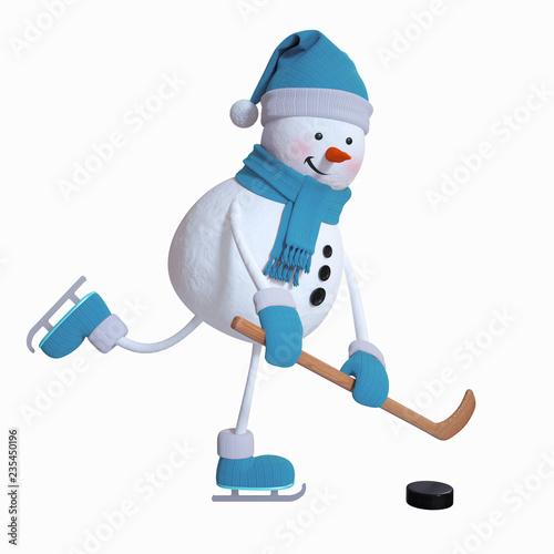 snowman playing ice hockey, winter sports, 3d illustration