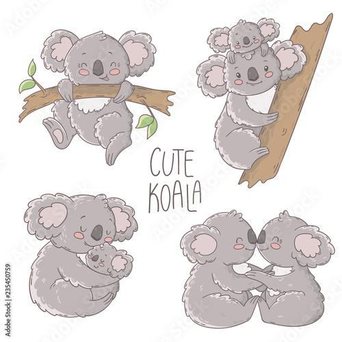 Naklejki koala  cute-koala-illustration-vector-set