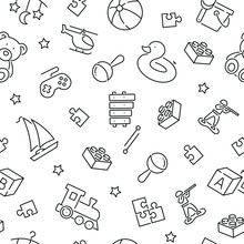 Seamless Pattern With Baby Toys. Black And White Thin Line Icons